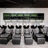 Modern LUXE Salon Hair Salon Frisco Texas Hair Stylist Back Bar